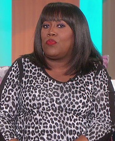 Sheryl's leopard contrast top on The Talk