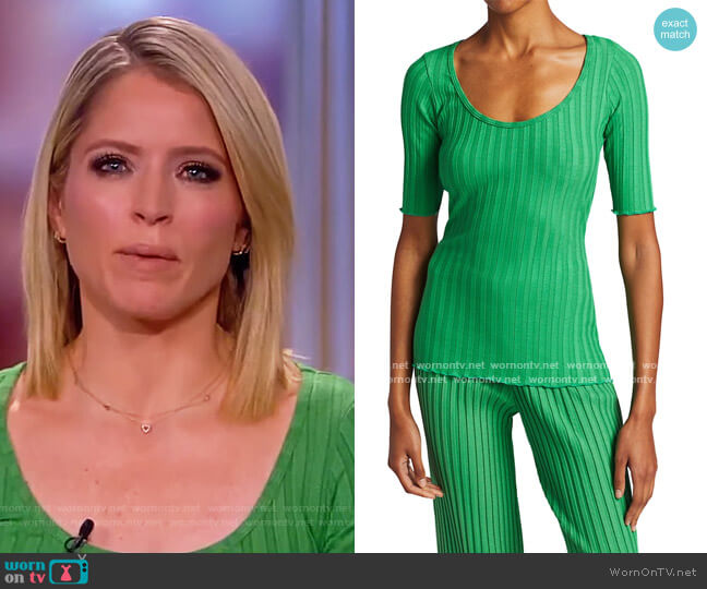 Vista Scoop Neck Tee by Simon Miller worn by Sara Haines  on The View