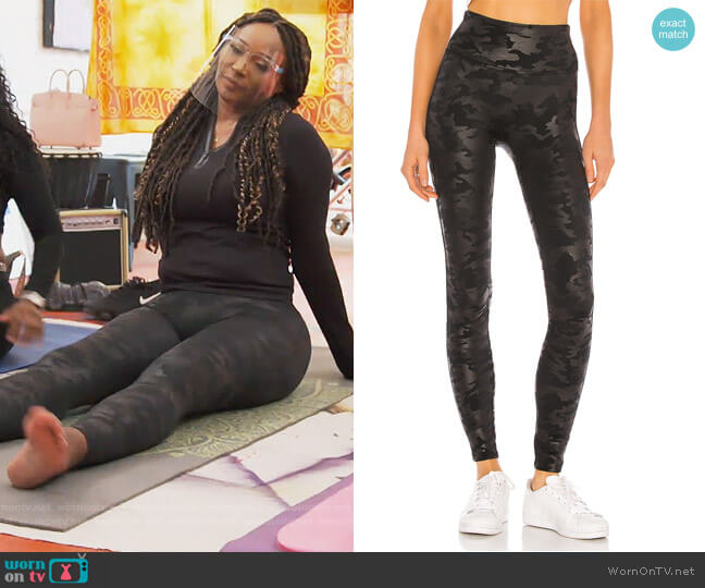 Faux Leather Camo Legging by Spanx worn by Cynthia Bailey  on The Real Housewives of Atlanta