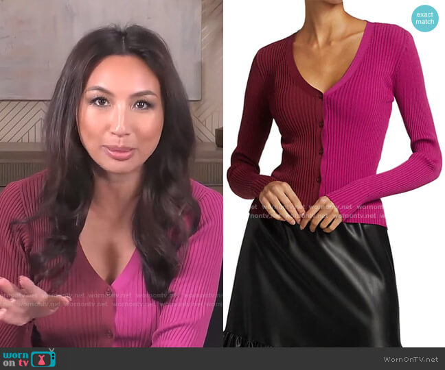 Cargo Colorblock Cardigan by Staud worn by Jeannie Mai  on The Real