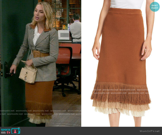 Staud Nelly Fringe Skirt worn by Mandy Baxter (Molly McCook) on Last Man Standing
