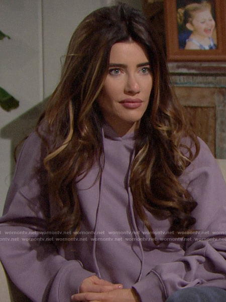 Steffy's purple hoodie and white sneakers on The Bold and the Beautiful