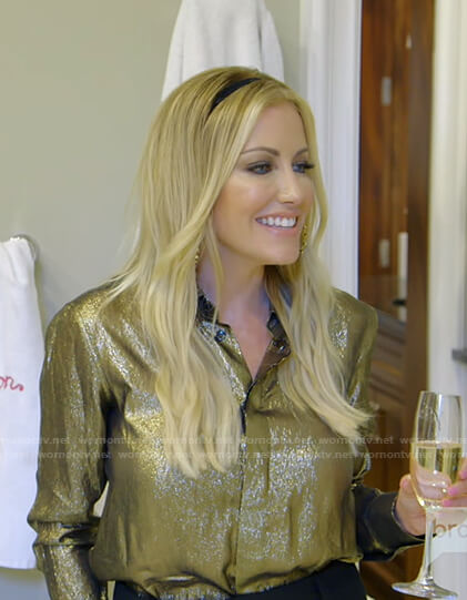 Stephanie's gold metallic shirt on The Real Housewives of Dallas