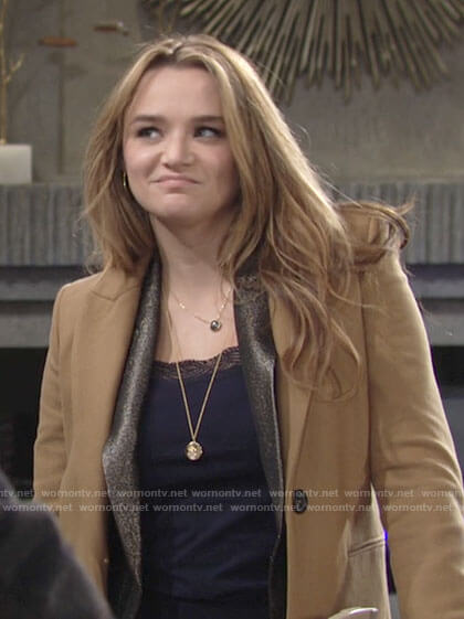 Summer's camel coat on The Young and the Restless