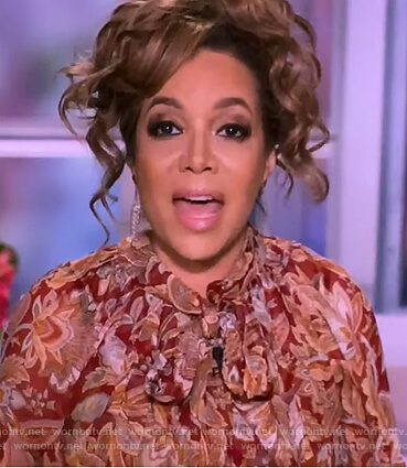Sunny's floral tie neck blouse on The View