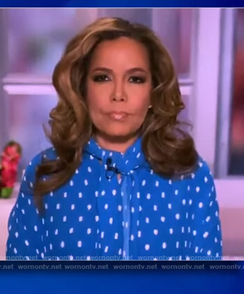 Sunny's blue polka dot tie blouse on The View