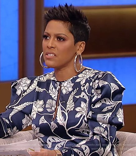 Tamron's blue floral print keyhole dress on Tamron Hall Show