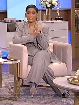Tamron's gray blazer and pants on Tamron Hall Show