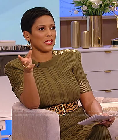 Tamron's green ribbed dress on Tamron Hall Show