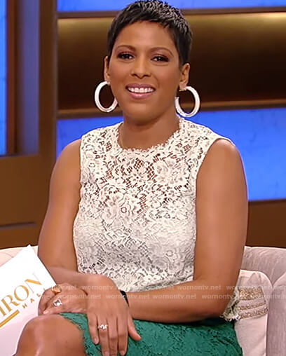 Tamron's white lace top and skirt on Tamron Hall Show