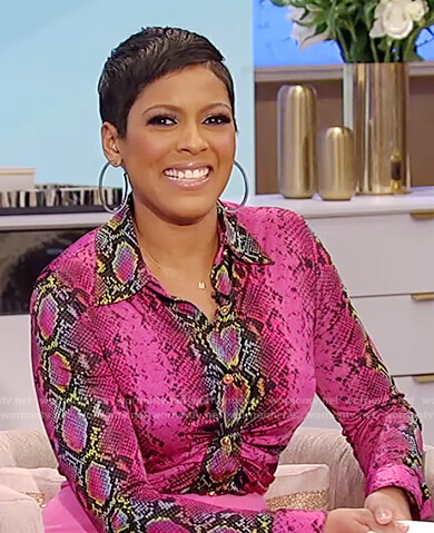 Tamron's pink snakeskin ruched blouse on Tamron Hall Show