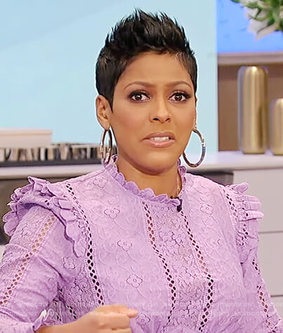 Tamron's lavender floral lace dress on Tamron Hall Show