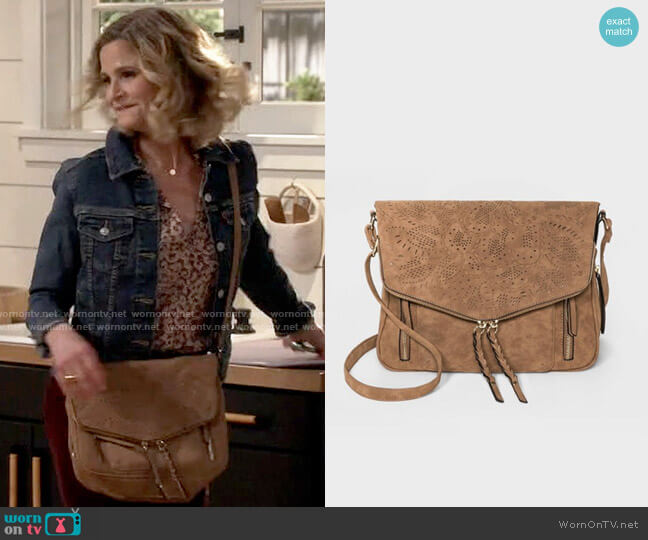 VR NYC Zip Closure Woven Flap Crossbody Bag worn by Jean Raines (Kyra Sedgwick) on Call Your Mother