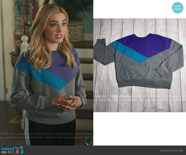 90's colorblock sweater by Arizona worn by Taylor Otto (Meg Donnelly) on American Housewife