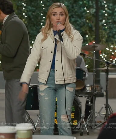 Taylor's pearl embellished denim jeans on American Housewife