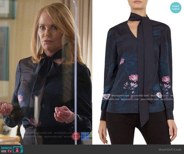 Roysie Floral Tie Neck Blouse by Ted Baker worn by Lisa Benner (Marg Helgenberger) on All Rise