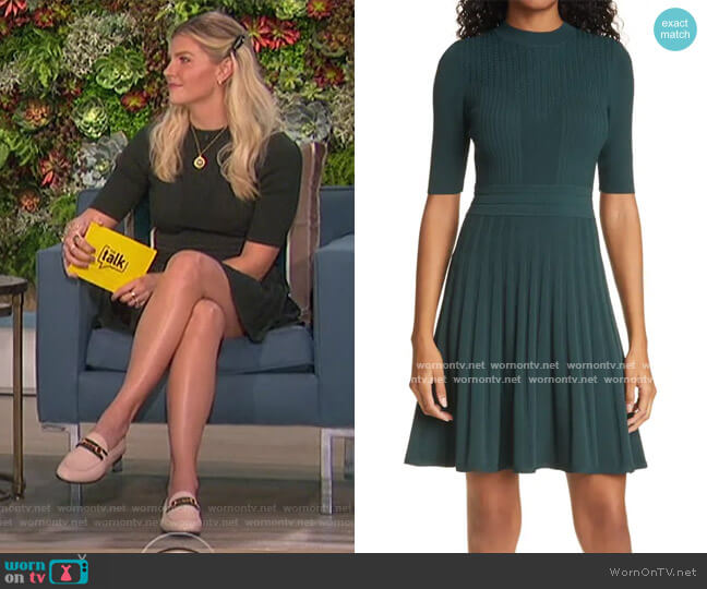 Olivinn Mix Stitch Fit & Flare Sweater Dress by Ted Baker worn by Amanda Kloots  on The Talk