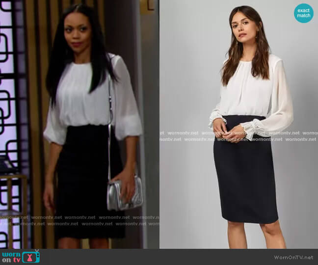 Ted Baker Lizzata Dress worn by Amanda Sinclair (Mishael Morgan) on The Young & the Restless