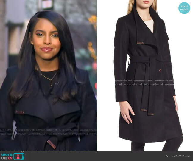 Wool Blend Long Wrap Coat by Ted Baker worn by Mona Kosar Abdi on GMA