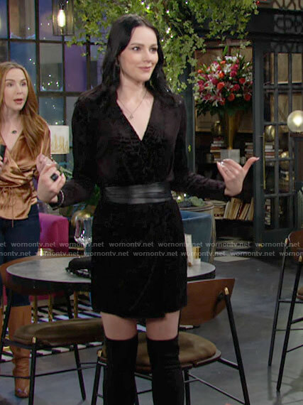Tessa's black velvet long sleeved dress on The Young and the Restless