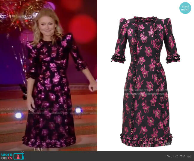 Cate Floral Midi Dress by The Vampire's Wife worn by Kelly Ripa  on Live with Kelly & Ryan