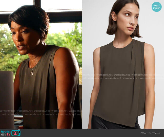 Draped Shoulder Top in Silk Georgette by Theory worn by Athena Grant (Angela Bassett) on 9-1-1