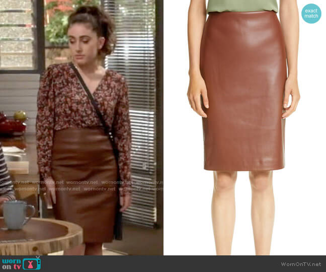 Theory Skinny Faux Leather Pencil Skirt worn by Jackie Raines (Rachel Sennott) on Call Your Mother