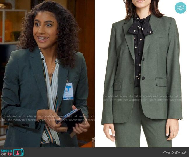 Theory Carissa Blazer worn by Mikaela Shaw (Vella Lovell) on Mr Mayor