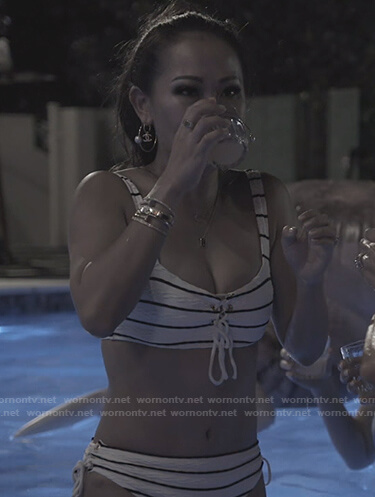 Tiffany's striped bikini on The Real Housewives of Dallas