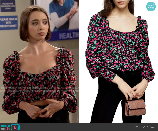 Topshop Cherry Smocked Prairie Blouse worn by Celia (Emma Caymares) on Call Your Mother