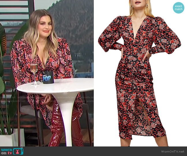 Floral Print Ruched Blouson Long Sleeve Dress by Topshop worn by Carissa Loethen Culiner  on E! News