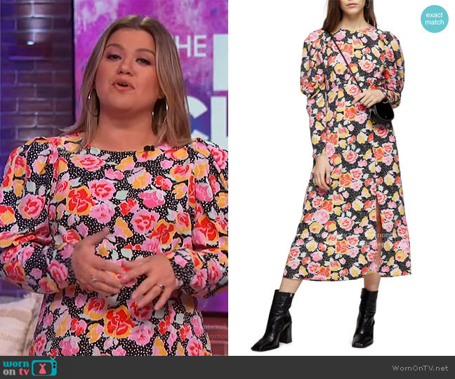 Pastel Dream Puff Sleeve Midi Dress by Topshop worn by Kelly Clarkson  on The Kelly Clarkson Show