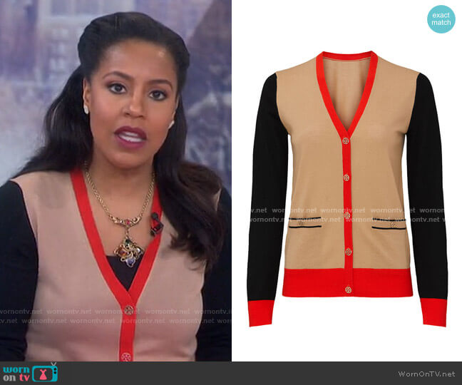 Colorblock Madeline Cardigan by Tory Burch worn by Sheinelle Jones  on Today