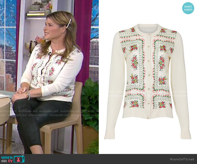 Floral Printed Cardigan by Tory Burch worn by Jenna Bush Hager  on Today