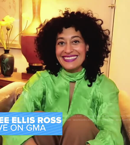 Tracee Ellis Ross's green keyhole top on Good Morning America