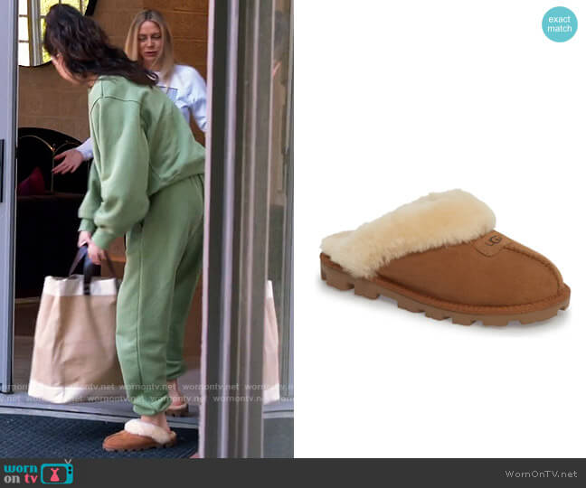Ugg Chestnut Shearling Slippers worn by Selena Gomez  on Selena + Chef