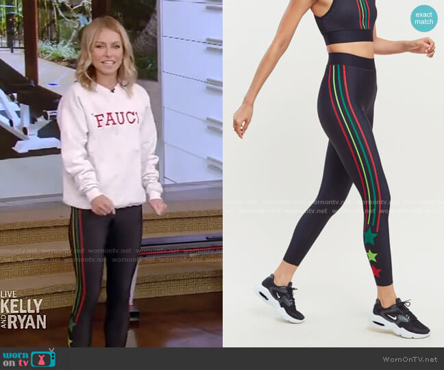 Tri Color Stripe & Star Legging by Ultracor worn by Kelly Ripa  on Live with Kelly & Ryan