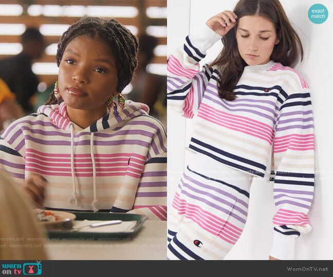Exclusive Striped Cropped Sweatshirt by Champion worn by Skylar Forster (Halle Bailey) on Grown-ish
