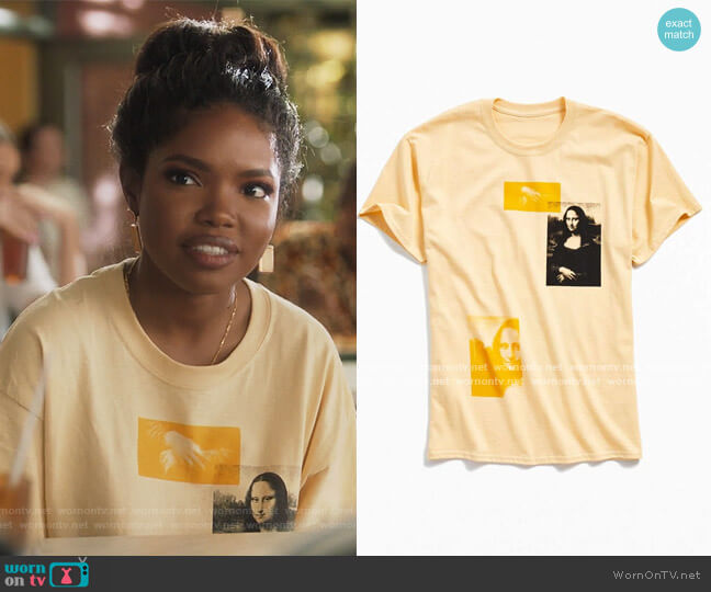 Mona Lisa Graphic Tee by Urban Outfitters worn by Jillian (Ryan Destiny) on Grown-ish
