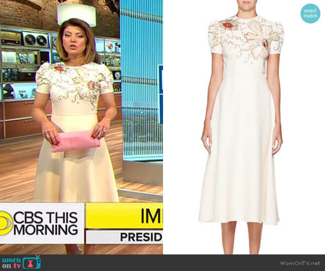 Valentino High-Neck Short-Sleeve Crepe Dress w/ Embroidery worn by Norah O'Donnell  on CBS Mornings