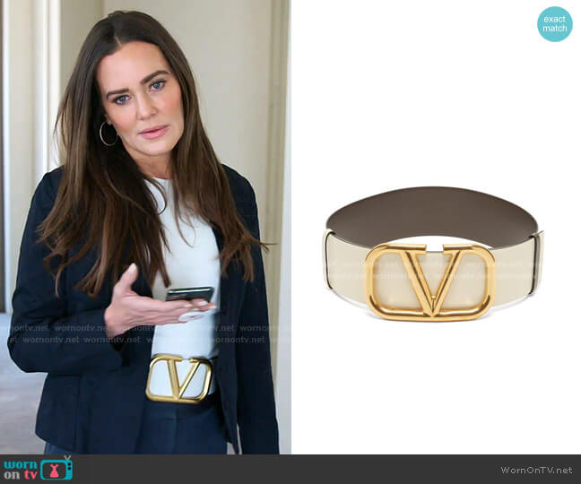 Oversized V-logo Leather Belt by Valentino worn by Meredith Marks  on The Real Housewives of Salt Lake City