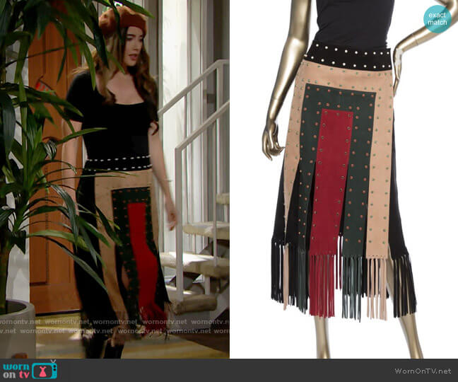 Valentino Suede Fringe Skirt worn by Steffy Forrester (Jacqueline MacInnes Wood) on The Bold & the Beautiful