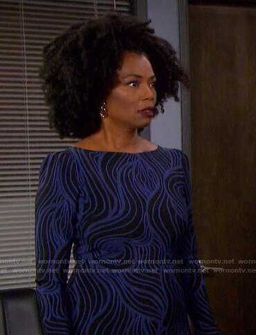 Valerie's black and blue printed dress on Days of our Lives