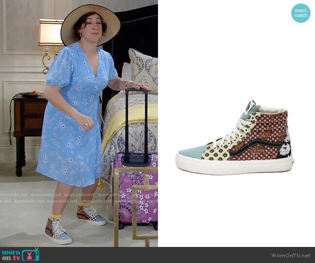Vans Sk8-Hi Sneakers in Tiger Patchwork worn by Kat Silver (Mayim Bialik) on Call Me Kat