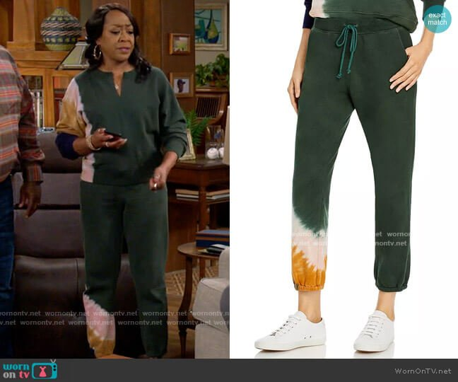 Velvet by Graham & Spencer Nissa Tie Dyed Jogger Pants worn by Tina (Tichina Arnold) on The Neighborhood