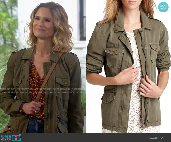 Velvet by Graham & Spencer Ruby Army Jacket worn by Jean Raines (Kyra Sedgwick) on Call Your Mother