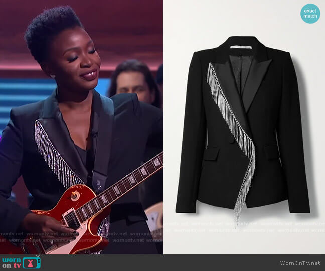 Clarise crystal-embellished crepe blazer by Veronica Beard worn by Folake Olowofoyeku on The Kelly Clarkson Show