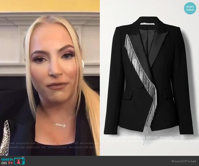 Clarise Fringed Rhinestone Dickey Blazer by Veronica Beard worn by Meghan McCain on E! News