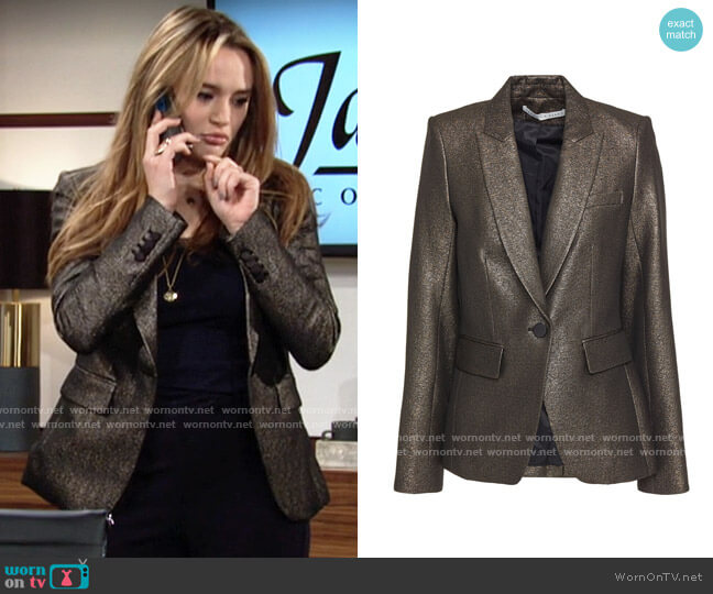 Veronica Beard Cutaway Dickey lamé blazer worn by Summer Newman (Hunter King) on The Young & the Restless