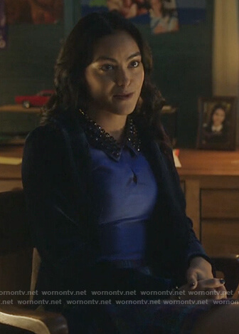 Veronica's blue embellished collar blouse on Riverdale
